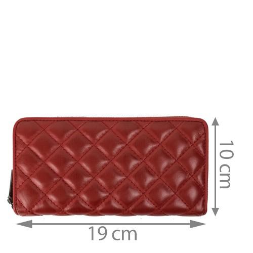 Portofel din piele rosu inchis matlasat PTF125