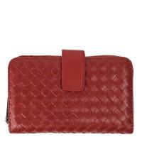 Portofel din piele rosu inchis impletita PTF128