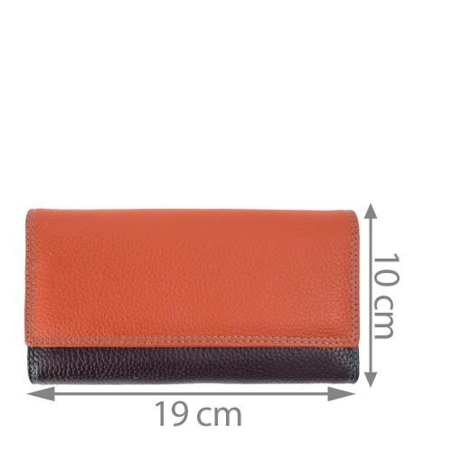 Portofel piele oranj/multicolor PTF148