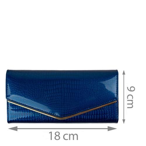 Portofel piele lacuita/ imprimeu albastru PTF162