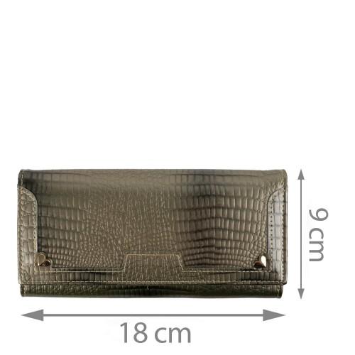 Portofel dama piele lacuita gri/imprimeu PTF163