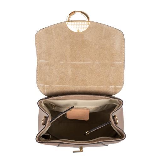 Rucsac piele taupe inchis cu imprimeu sarpe GF2535