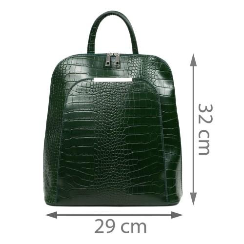 Rucsac dama piele verde inchis cu imprimeu GF2697